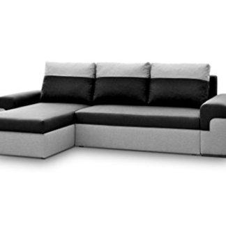 AVANTI TRENDSTORE – Marebbe – Divano ad angolo in microfibra grigio/antracite, con funzione letto e cassettone integrato, dimensioni LAP 264x87x147 cm