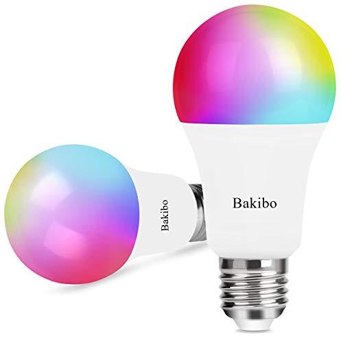 bakibo Lampadina Wifi Intelligente Led Smart Dimmerabile 9W 1000Lm, E27 Multicolore Lampadina...