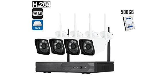 KIT VIDEOSORVEGLIANZA COMPLETO DI NVR+4 TELECAMERE IP 6 LED+HARD DISK 500GB WIRELESS FULL HD WIFI