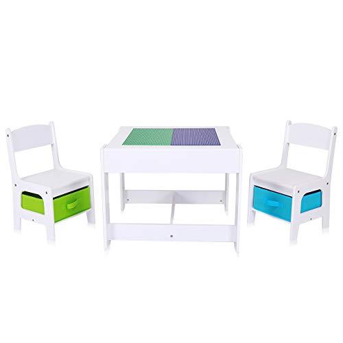 Baby Vivo Set Tavolo da attività per Bambini con 2 Sedie Cassapanca Gioco Mobili Lavagna per...