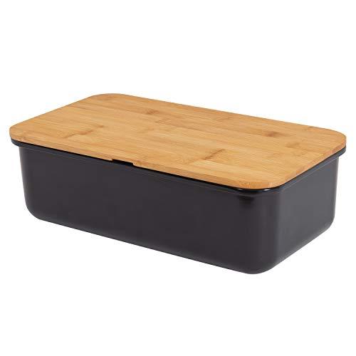 Geräumiger Brotkasten aus Melamin mit Bambusdeckel als Schneiderbret Maße 37,5 x21x13cm in Farbe schwarz