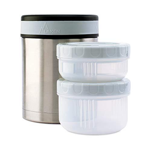 Laken Contenitore Termico per Alimenti Isotermico Acciaio Inossidabile 1 Litro + 2 contenitori per...