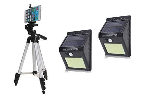 Un-Tech 3110 Aluminum Portable Tripod for Mobile Phone + Solar Motion Sensor 20 LED Wall Light -Pack of 2