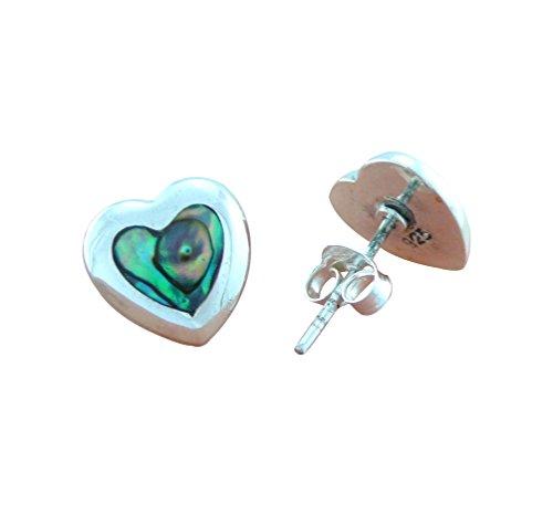 DTPsilver - Concha de Nácar Abulón paua - pendientes en plata de ley 925 en forma de corazón con cierre de mariposa a presión