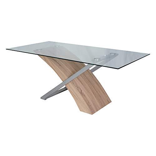 Esidra Moderno, 180 X 90 CM, Legno E Vetro, Tavolo da Pranzo, Rettangolare, Design (Rovere)
