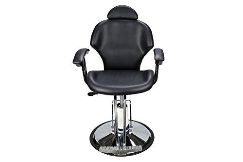 BarberPub Poltrona da barbiere classica Poltrona reclinabile idraulica 360 gradi girevole regolabile per capelli Salone di bellezza 8714BK