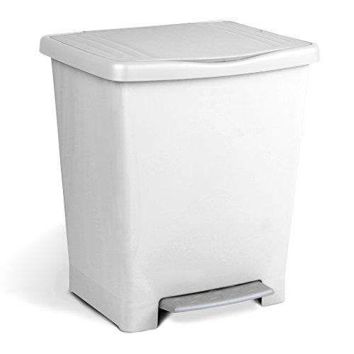 TATAY Millenium - Cubo con pedal, 39 x 30 x 33.5 cm, color blanco