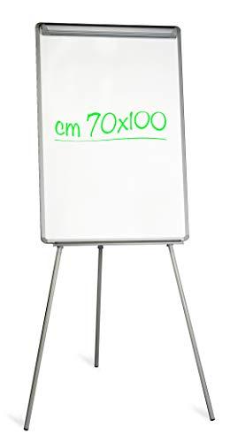 Lavagna Magnetica Bianca a cavalletto con Portablocchi, 70 x 100 cm