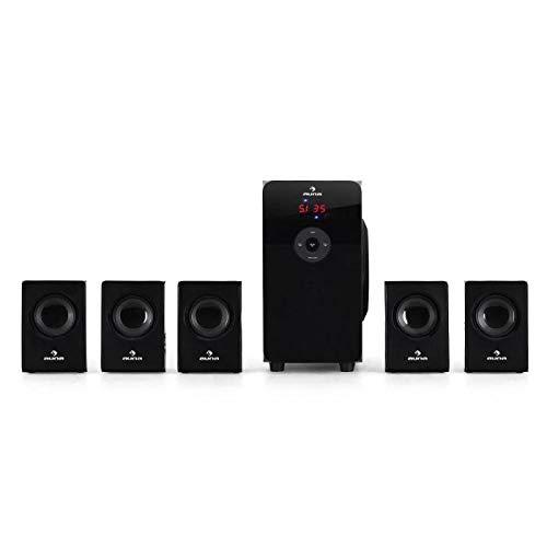 auna HF583 • BlackLine • Sistema Surround 5.1 • Home Theatre • Subwoofer Attivo • 5 Speaker Satelliti • Woofer 4' (10 cm) • Modalità: 2.1 o 5.1 • 70 W RMS • Bass Reflex • MP3 • Radio VHF • Color Nero