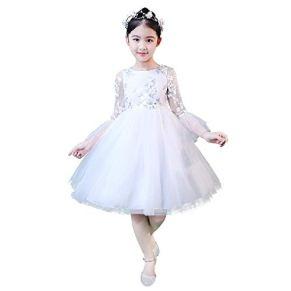 FSKZ Niñas Princesa Vestido niños Halloween Vestido Largo Cenicienta Disfraz Cosplay Disfraz cumpleaños Fiesta Ropa,White-150CM