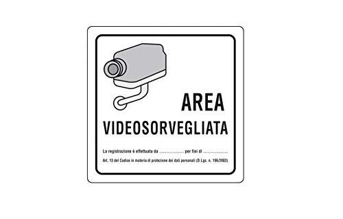 CARTELLO ALLUMINIO CM 12X12 'AREA VIDEOSORVEGLIATA. La registrazione è effettuata da... Per fini di... Art.13'