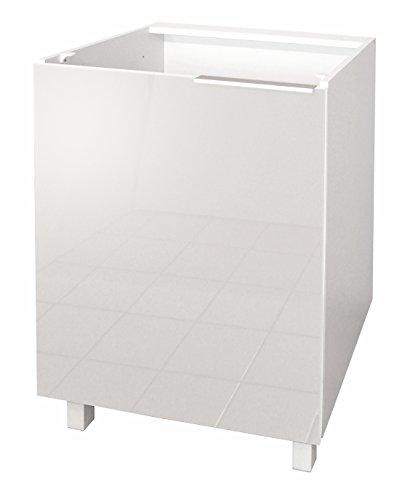 Berlenus CP6BB - Mobile Basso da Cucina con 1 Anta, 60 x 52 x 83 cm, Colore: Bianco Brillante