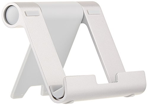 AmazonBasics - Soporte multiángulo portátil para tablets, e-readers y teléfonos - Plateado