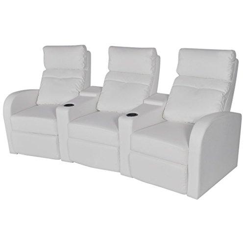 vidaXL Divano poltrona tre posti reclinabile moderno arredo casa ecopelle bianca