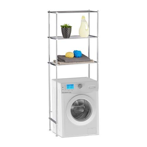 Relaxdays Überbauregal Waschmaschine, WC-Regal mit 3 Ablagen, Waschmaschinenregal Chrom, HBT: 162 x 63 x 30 cm, Silber