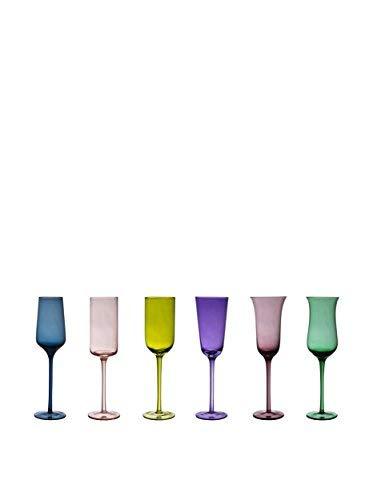 BITOSSI Diseguale Set 6 Flute, Multicolore, 6.5 cm