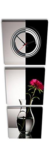 Quadrato Orologio de parete Fiore rosso in vaso con orizzontale Wate in bianco e nero