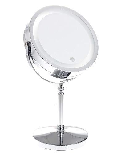 TUKA LED Espejos Maquillaje Pantalla Táctil, 5X aumentos, afeitarse Espejos para baño de Mesa, Conector de la Batería o Enchufe español, Cosmética Espejo de Luz al Tacto, TKD3144-5x