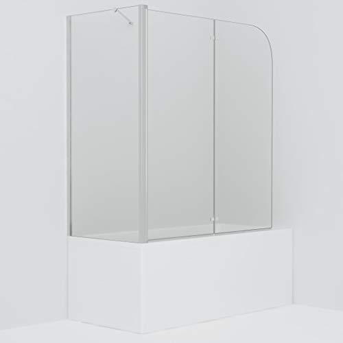 vidaXL Duschkabine Duschwand Faltwand Duschabtrennung Badewannenaufsatz ESG 4 mm Sicherheitsglas 120x68x140 cm Verstellbereich von 67-79 cm Doppelt Faltbar