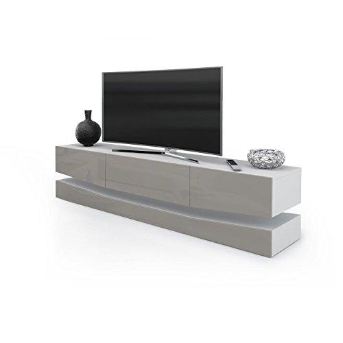 Porta TV moderno modello New York, mobile per tv per il tuo soggiorno frontali tortora lucido