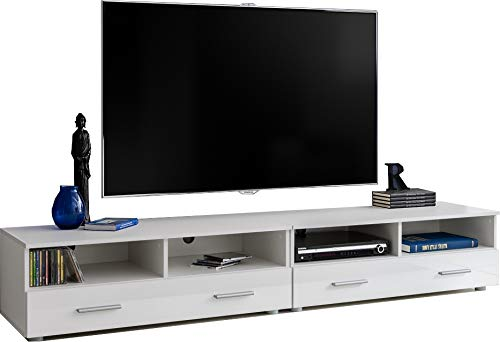 ExtremeFurniture T31-200 TV Mobile, Carcassa in Bianco Opaco/Frontali in Bianco Lucido