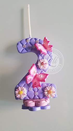 Vela decorada porcelana fría Inspirada en Mariposa Cumpleaños tarta