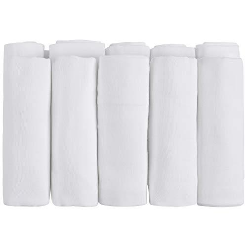 emma & noah Mussole, pacco da 10, 100% in cotone, biancheria 60° C, 70 cm x 70 cm, bambina bavaglini morbidi, colore: bianco - ideali come copertine neonato di stoffa, pannolini lavabili