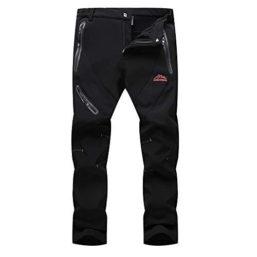 Hombres Pantalones de Softshell Transpirable Fleece Lined, Impermeable Pantalones de Montaña, Aire Libre Pantalones de Mantener Caliente, Pantalón da Senderismo y Trekking,L
