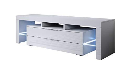 muebles bonitos Mobile TV Modello Selma (160x53cm) Colore Bianco con LED RGB