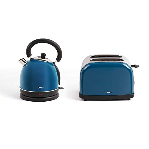 Bollitore senza fili e tostapane blu set colazione in acciaio inox (spegnimento automatico, elemento...