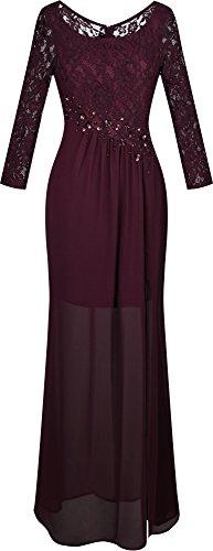 Angel-fashions Damen Rundhalsausschnitt Spitze Lange Aermel Transparent Spalte Kleid
