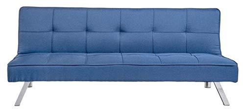 Gardenia Divano Letto 3 Posti Reclinabile Moderno Elegante Colore Blu, Tessuto