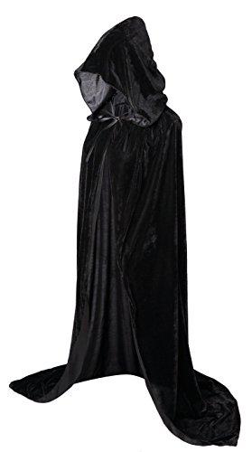 VGLOOKO Full Length Hooded Robe Cloak Long Velvet Cape Cosplay Costume 59' Black