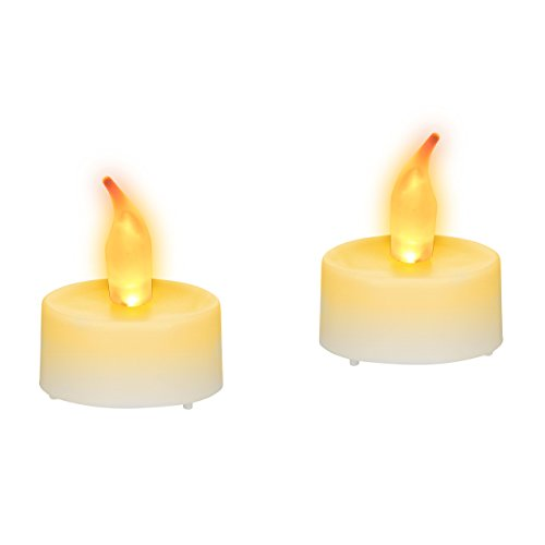 Relaxdays LED Tealight Candle Set di 2, Elettrico Fiamma tremolante lumini, Giallo, Realistico e Brillante, batterie Incluse, Bianco, 4.5 x 3.5 x 3.5 cm