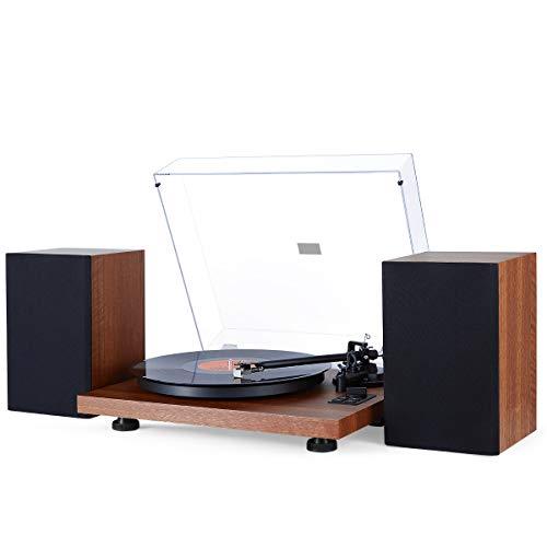 1 BY ONE Giradischi Stereo a Cinghia in Legno con Impianto di Altoparlanti Hi-Fi Wireless 36W, Lettore Vinile Contrappeso Regolabile e Cartuccia Magnetica, Registrazione da Vinile a MP3