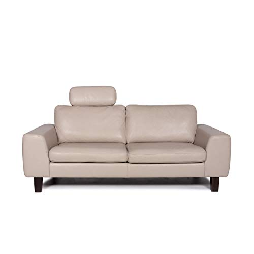 Willi Schillig leather sofa cream two-seater couch