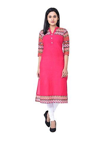 M&D Casual Printed Women's Kurti(Pink)