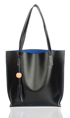 Mammon Women's Synthetic Handbag (plain-blk, Blue)