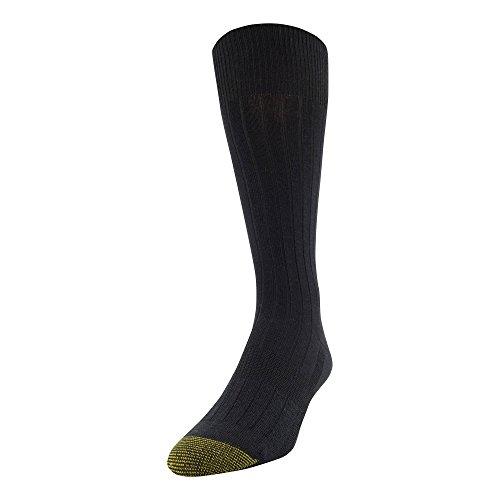 Gold Toe Men's Essential Rib Crew Socks, 1 Pair, Black, Shoe Size: 6-12.5
