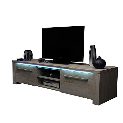Messa - Mobile TV con 2 armadi e 2 vani aperti (140 cm, in rovere Sonoma chiaro con illuminazione...