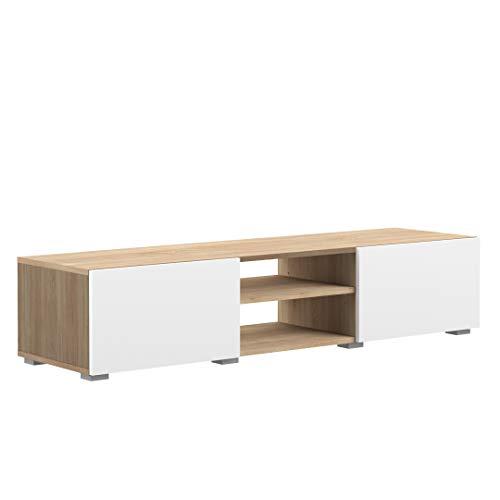 Movian Lijoki - Mobile TV, 140 x 42 x 31 cm (L x P x A), colore quercia e bianco