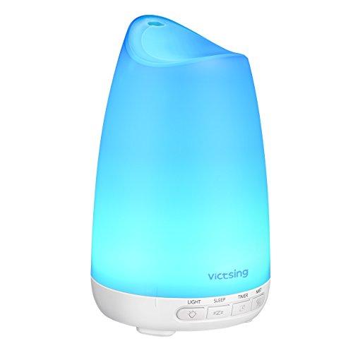 VicTsing Diffusor Aromatherapie, 150ml Aroma Diffuser für ätherische öle, Ultra Leise (21dB) Luftbefeuchter Ultraschall Vernebler, BPA-Free Öle Duftlampe Elektrisch mit 8 Farben LED, Schlafmodus-Weiß