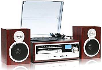 TechPlay ODC28SPK-WD 3-Speed Turntable with CD / MP3 / Cassette/SD Card/USB Player, Digital AM/FM Radio, AUX in, Line Out Alarm Clock, Remote a
