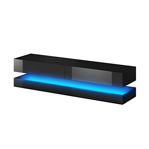 Aviator - Mobiletto porta TV sospeso / Supporto TV sospeso a parete (140 cm, nero opaco / pannelli...