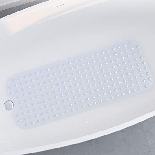 SLYPNOS Badewannenmatte Rutschfest, Badematte 100x40cm mit 200 Saugnäpfenaus, aus umweltfreundlichem PVC-Material, antibakteriell, ungiftig, geruchsfrei, transparent