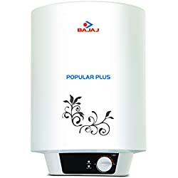 Bajaj Popular Plus Storage 10-Litre Vertical Water Heater, White, 3 Star