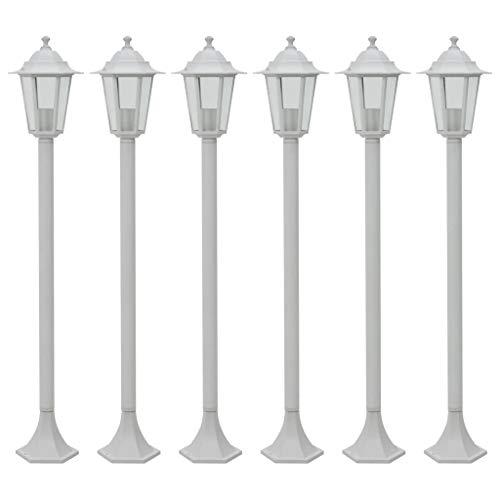 vidaXL 6x Lampioni da Giardino E27 Alluminio Bianco Luce da Esterno Lanterna