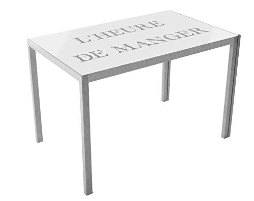 13Casa - Dahl A1 - Tavolo. Dim: 105x60x75 h cm. Col: Bianco, Fantasia. Mat: Vetro.
