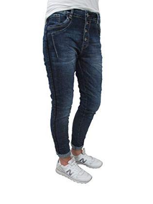 Karostar-Stretch-Baggy-Boyfriend-Jeans-Schwarze-Seitenstreifen