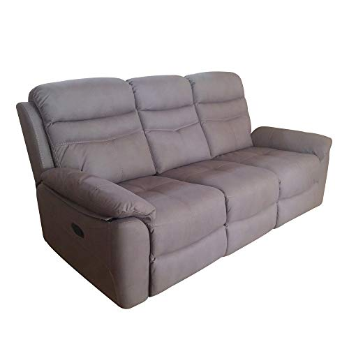 R R DESIGN Divano a 2 posti Relax Manuale reclinabile Tessuto Modello Leone - Mozart Tortora, Divano 3 posti Relax Manuale con 2 Recliner